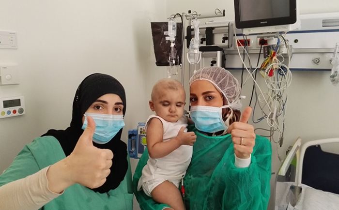 Zeinab Abdul Jawad before undergoing the surgery Accompanied with Banin Charity
